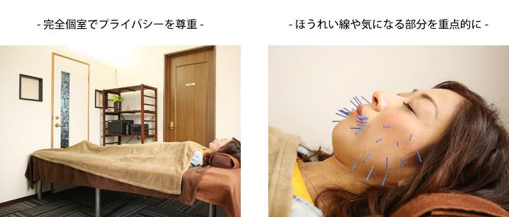 完全個室 ほうれい線や気になる部分を重点的に施術します。