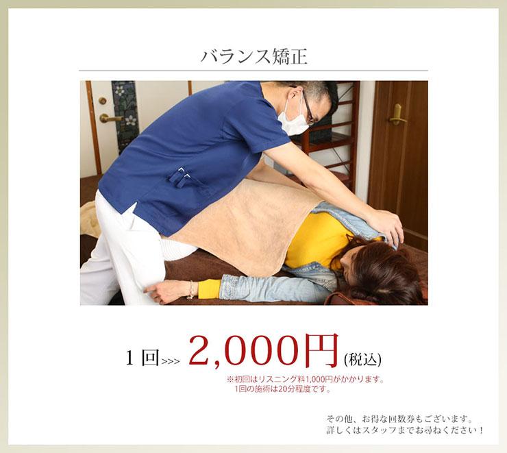 バランス矯正1回2000円です
